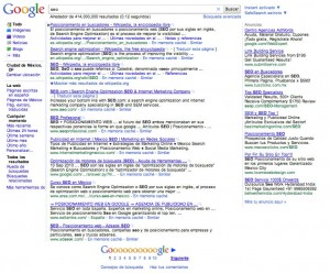 Ejemplo de SERP (Search Engine Result Page)